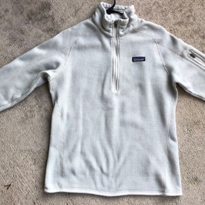 Patagonia Better Sweater Large White Linen 1/2 Zip